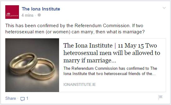Iona Institute warns that straight men might marry each other and not have gay bum-sex if referendum passes